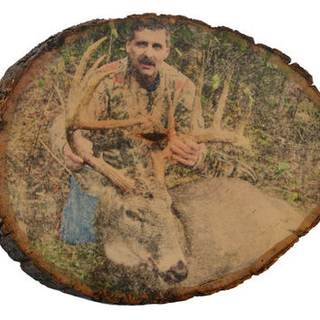 Hunting Decor, Your Hunting Picture on Wood, Custom Wood Photo Transfer, Outdoor Pictures, Hunting Gifts, Dee Pictures, Cabin Decor, Rustic