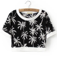 Black and White Tropical Print Crop