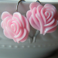 Bridesmaids Earrings Lever Back, Ladies Rose Earrings, Shabby Chic Earrings