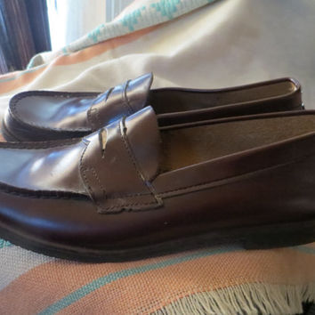 Vintage 80s womens  cordovan brown penny loafers   sz 6 1/2