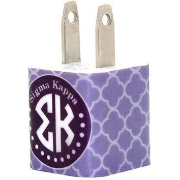Sigma Kappa Trellis iPhone Charger