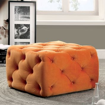 Furniture of America Percie Contemporary Tufted Flannelette Square Ottoman | Overstock.com Shopping - The Best Deals on Ottomans