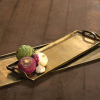 Large Aluminum Platter - Antique Brass