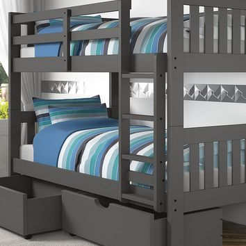 Gavin Gray Bunk Bed with Storage