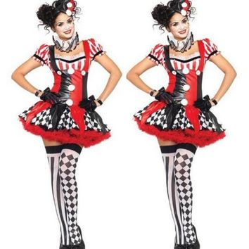 ICIKHY9 Funny Harley Quinn Costume Women Adult Clown Circus Cosplay Carnival Halloween Costumes For Women CO58157166