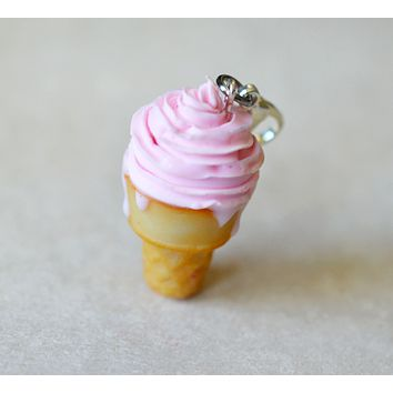 Strawberry Soft Serve Polymer Clay Miniature Ice Cream Cone Charm or Key Chain