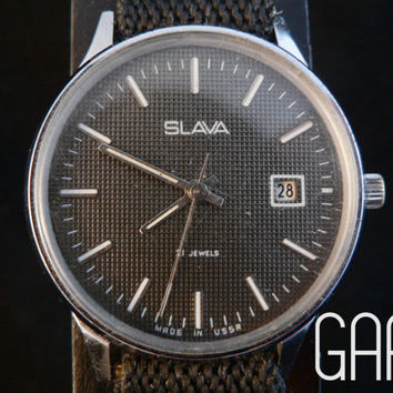 Vintage gray Slava mens watch