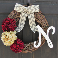 Holiday Monogram Wreath with Burgundy Red & Cream Hydrangeas