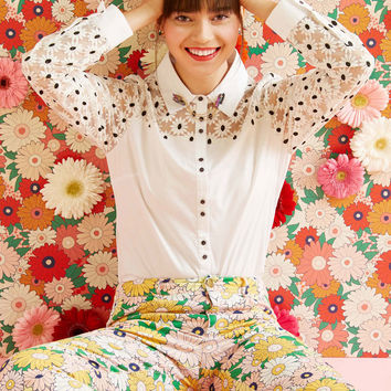 Bliss in Bloom Button-Up Top | Mod Retro Vintage Short Sleeve Shirts | ModCloth.com