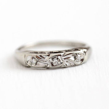 Vintage Wedding Band - 14k White Gold Genuine Diamond Ring - 1950s Size 7 1/4 Three Single Cut Milgrain Bow Motif Bridal 50s Fine Jewelry