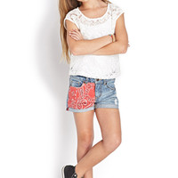FOREVER 21 GIRLS Eyelash Lace Top (Kids)