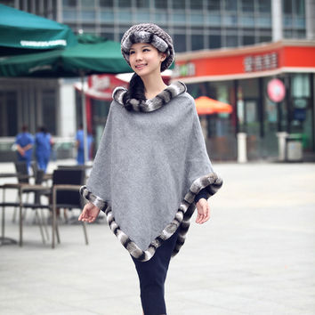 Luxury Real Chinchilla Rex Rabbit Fur Trim Cashmere Cape Black ,Grey Winter Fur Poncho For Women Winter Autumn Outerwear CW260