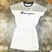 Champion Fashion New Bust Embroidery Letter Contrast Color Women Short Sleeve Dress 3#