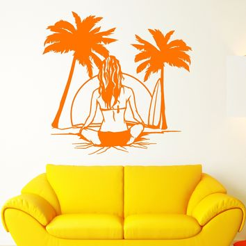 Vinyl Wall Decal Beach Sea Style Surfer Surfing Girl Back Palm Tree Stickers Unique Gift (2104ig)