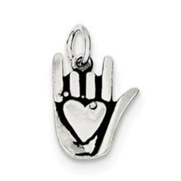 Antiqued Sign Language Charm in Sterling Silver