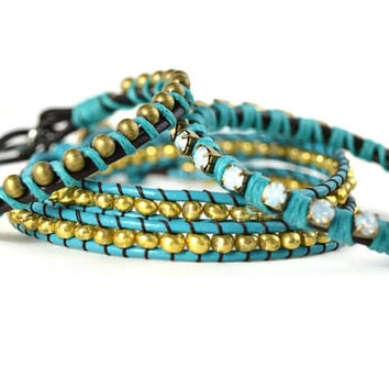 Blue and Gold Wrap Bracelets, Blue Single Wrap, Gold Single Wrap, Blue and Gold Double Wrap Bracelet, Blue Bracelet Set