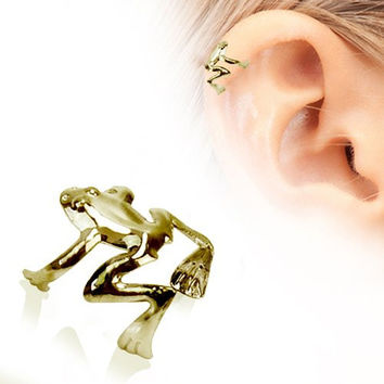 Tree Frog Fake Cartilage Ear Cuff (Antique Gold)