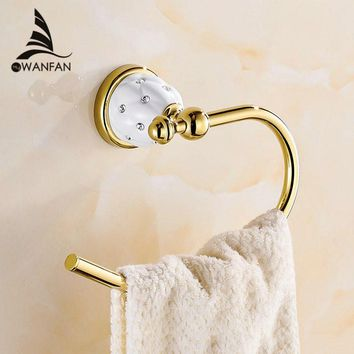 Towel Rings Solid Brass Gold Towel Holder Bath Shelf Towel Rack Hangers Luxury Bathroom Accessories Wall Mounted Towel Bar 5207