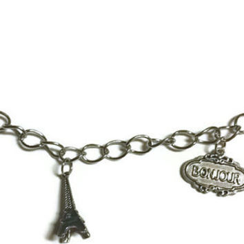 Paris charm braclet, 8 inch braclet, chain braclet, paris, Eiffel Tower, bonjour, gift for her, love, womens jewelry, paris charms, charming