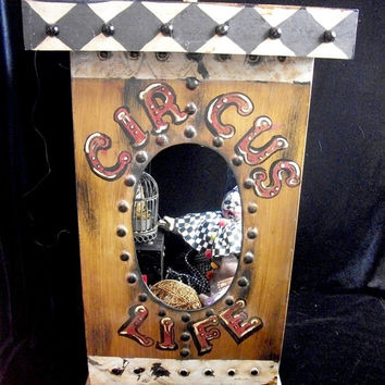 Dark Circus Carnivale Clown Altered Art Doll Horror Prop Assemblage Cabinet of Curiosity Large Table Display Artist L.Cerrito Detroit