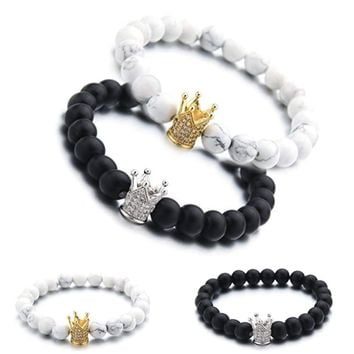 Couples King Queen Black and White Crown Beads Relationship Friendship Bracelet