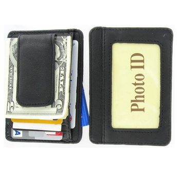 AFONiE Printed Grain Cowhide Leather Money Clip with Magnet