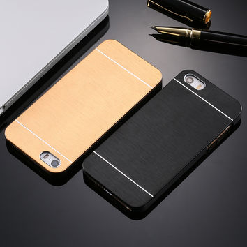 Cool Metal Gold Case For Apple iphone 5 5S SE Aluminum Plastic Hard Back Phone Accessories Brand Logo Luxury Cover for iPhone 5S
