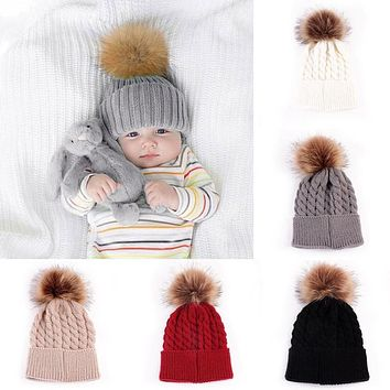 be155c77187 Hot 5 Color Baby Toddler Girls Boys Warm Winter Knit Beanie Fur