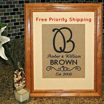 Burlap Print, Monogram, Personalized Burlap Print, Wedding Sign, FREE Priority Shipping!