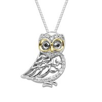 Sterling Silver and 14k Yellow Gold Diamond Owl Pendant Necklace (1/10 cttw, I-J Color, I2-I3 Clarity)