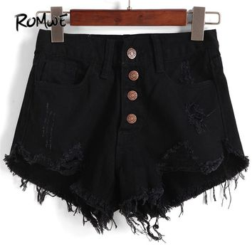 ROMWE Single-breasted Ripped Fray Hem Denim Shorts Women Casual High Waist Black Hot Shorts 2018 Fashion Rock Straight Shorts