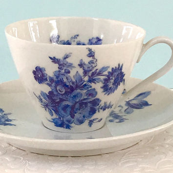 Vintage Tea Cup, Cup and Saucer, Tea Cup Set, Vintage Teacup, Blue and White China, Shabby Chic Decor, Blue Tea Cup, Birthday Gift for Mom