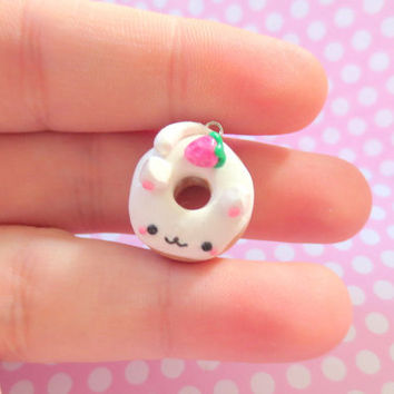 Cat Strawberry Donut Cute Clay Charm/Necklace