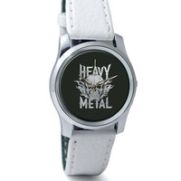 Heavy Metal Skull Illustration (Grey) Wrist Watch