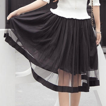 Black Sheer A-Line Mesh Skirt