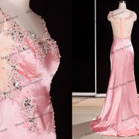 Luxury Pink Rhinestones Beading See through Tulle Back Long Evening Dress with Train,long evening gown,long senior prom dress,gorgeous dress