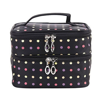 Vorcool Handheld Women's Girls Polka Dots Two-layer Cosmetic Makeup Bag Zipper Pouch Toiletry Wash Bag Organizer for Travel Home Use (Black)