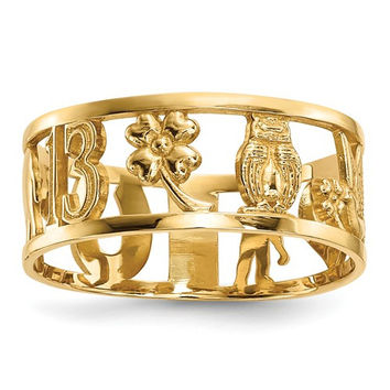14k Yellow Gold Lucky Symbols Cut Out 7mm Band