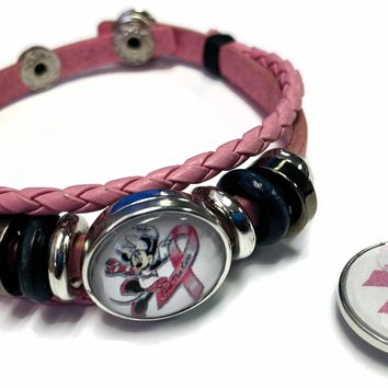 Minnie Mouse Breast Cancer Awareness Snaps On Pink Leather Bracelet W/2 Snap Jewelry Charms New Item