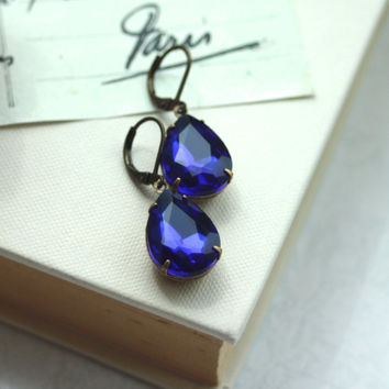Sapphire Blue Faceted Pear Teardrop Glass Jewel Dangle Earrings. Bridesmaid Gifts.  Maid of Honor. Blue Wedding. Something Blue. Royal Blue