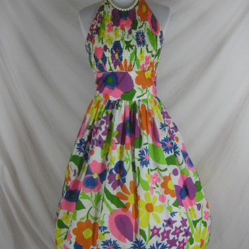 1950s 1960s Designer Toby Tanner Majorie Scott Vintage Floral Garden Party Cotton Halter Dress W 28