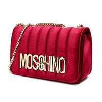 MOSCHINO Fashionable Women Velvet Metal Chain Shoulder Bag Crossbody Satchel Red