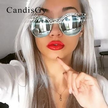 CandisGY Vintage Cat Eye Baroque Style Sunglasses 2016 New Women Fashion Round Half Frame Brand Designer Lace Retro Sun Glasses