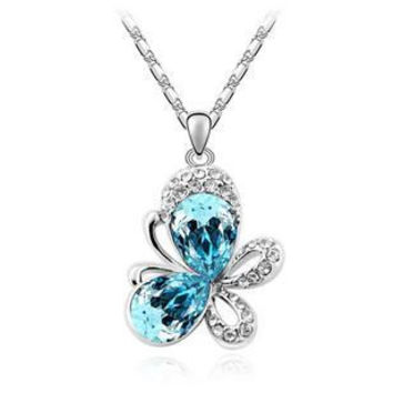 New 2014 Crystal Pendants Animal Necklaces Butterfly Full Of Rhinestone Fashion Jewelry For Women Silver Plated