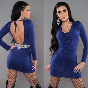 Blue Cowl Neck Long Sleeve Backless Sequined Bodycon Mini Dress