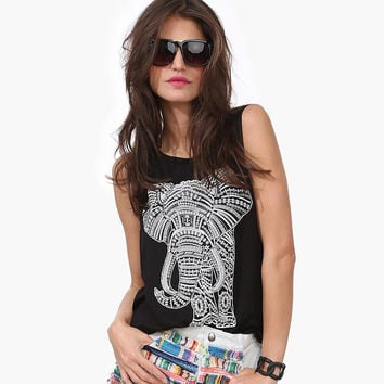2016 Summer Fashion Black Women T-Shirt Elephant Printed Casual Woman Cotton Tops Loose Round Collar Sleeveless Tees Plus Size