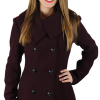 Jessica Simpson Womens Double Breasted Tweed Peacoat Winter Coat