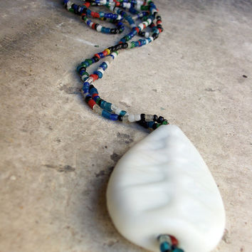 Murano matte white glass pendant on Murano multicolor bead necklace, Handcrafted in Venice, Italy