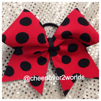 Red with Black Polka Dots Cheerleading Dance Ribbon