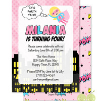 "Pink Girl Superhero Invitations - Personalized 5 x 7"" - Double-Sided and Printed Birthday Invitations - Girl Super Hero Birthday Party"